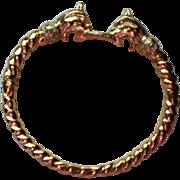 Lions Head Hidden Clasp Gold Tone Bracelet
