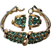Coro 1953 Design Blue Rhinestone Bracelet with Clip Earrings Set