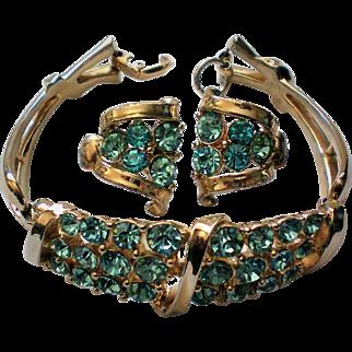 Coro 1953 Design Blue Rhinestone Bracelet with Clip Earrings Set