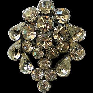 Glittering Rhinestone Tear Drop and Round Stone Brooch