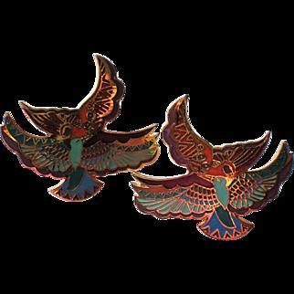 "Laurel Burch ""Ethereal Birds"" Egyptian Themed Earrings"
