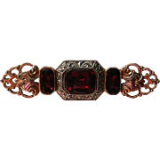 Blood Red Emerald Cut Rhinestone Sash Pin