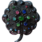Little Nemo Pot Metal Flower Brooch signed LN/25