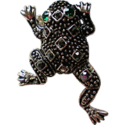 Marcasite Frog / Toad Pin with Rhinestones