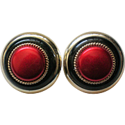 Large Round Red & Black Clip Earrings