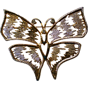 Enormous Gold tone Butterfly Pin