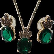 Emerald Green Rhinestone Necklace & Earring Set