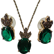 Emerald Green Rhinestone Necklace & Earring Set