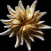 Signed Hattie Carnegie Large Golden Flower Brooch