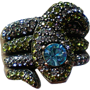 Pave' Crystal Snake Ring with Blue Rhinestone Head