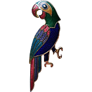 Colorful Enameled Parrot Pin