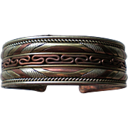 Copper Mixed Metals Composition Cuff Bracelet