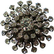 Huge Domed Multi-layered Rhinestone Brooch