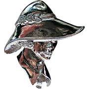 Silver tone Lady Portrait Pin by Torino