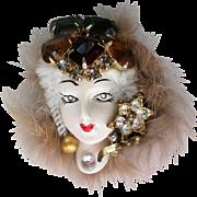 Artisan Created Lady in Fur Brooch
