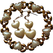 Heart Dangle Earrings and Bracelet with faux Pearls
