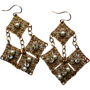 Gold tone Dangle Earrings with faux Pearls and Rhinestones