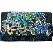 Carolyne Barton Vintage Beaded Black Evening Bag