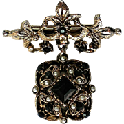 Edwardian Themed Dangle Pendant Brooch