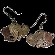 Silver tone Buffalo Bison Dangle Earrings Univ. of Colorado