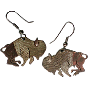 Silver tone Buffalo Bison Dangle Earrings Univ. of Colorado