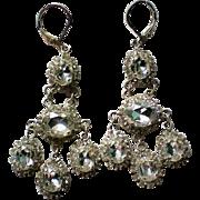 French Clip Dangle Rhinestone Pot Metal Earrings