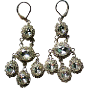 French Clip Dangle Rhinestone Pot Metal Earrings