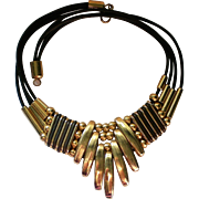 Bold Brass and Leather Egyptian Design Statement Necklace