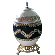 Russian Faberge Egg Design Trinket Dresser Vanity Music Box - Doctor Zhivago
