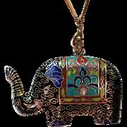 Cloisonné Enamel Elephant Pendant with Gold Gilt