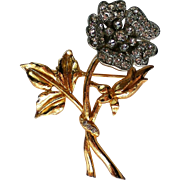 Trembler Flower Brooch with Gold and Silver tone Metals