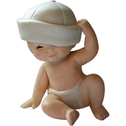 Bisque Baby in Hat Figurine, 1984