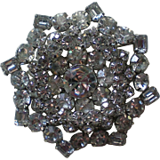 Enormous Multi-Layered Clear Rhinestone Brooch