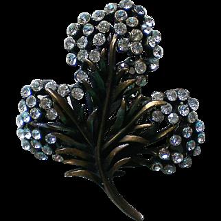 Signed KARU Antiqued Bronze Flower Brooch