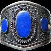 Bold Lapis Lazuli Nikel Coin Silver Kuchi Tribal Cuff Bracelet