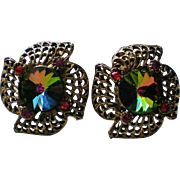 Watermelon Rivoli Clip Earrings