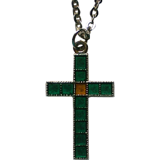 Turquoise Enameled Cross Pendant