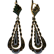 Double Dangle Damascene Pierced Earrings