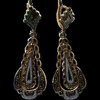 Double Dangle Damascene Pierced Earrings
