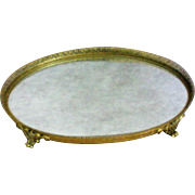 Gilt Filigree Dresser / Vanity / Perfume Footed Oval Mirror