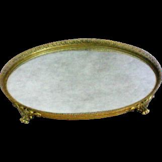 Gilt Filigree Dresser / Vanity / Perfume Footed Oval Mirror