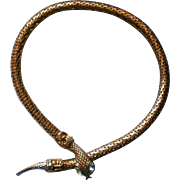 Golden Snake Serpent Coiled Necklace