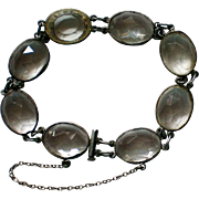 Art Deco Bezel Set Caged Rock Crystal Bracelet