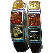 Sterling Silver Pierced Earrings with Multicolored Amber Stones