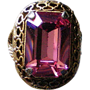 Stunning Large Pink Stone Filigree Ring