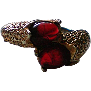 Double Red Cabochon Bypass Ring