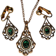 Edwardian Look Avon Pendant and Earring Set