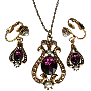 Signed Avon Queensbury Pendant with Clip Earrings