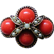 Coral Cabochon Statement Ring