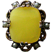 Lemon Yellow Cocktail Statement Ring with Seed Pearls
